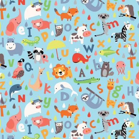 Designer Flannel Noahs Abc Blue F153
