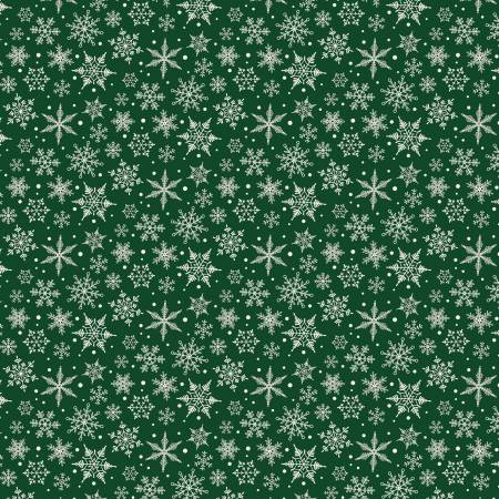 Designer Flannel Snowflakes Green