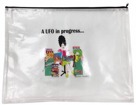 A UFO In Progress Zippered Mesh Bag