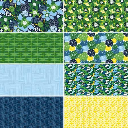 Half Yard Cuts Jitterbug Chicory 8pcs/bundle