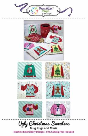 Ugly Christmas Sweaters Mug Rugs and Minis Machine Embroidery Designs