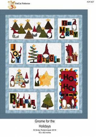 Gnome for the Holidays- pattern - fusible applique