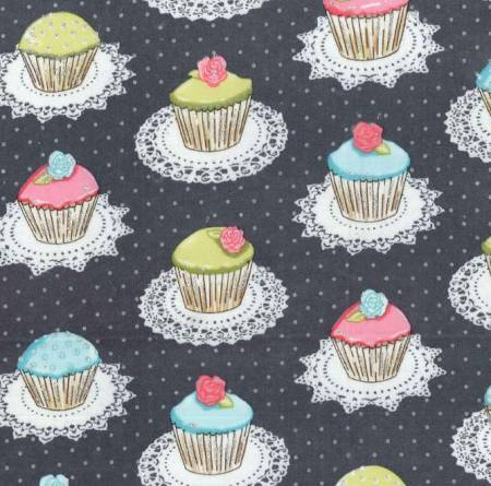 Gray Quaint Cupcakes w/Metallic Flannel
