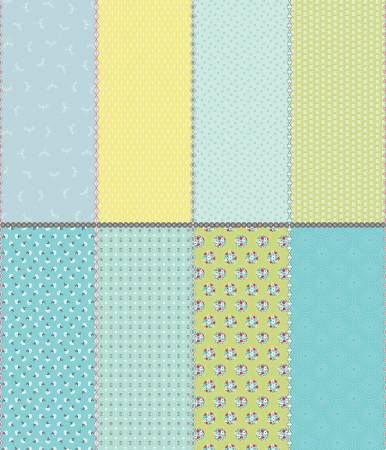 Paper Daisies Fat Eighth Panel Blue