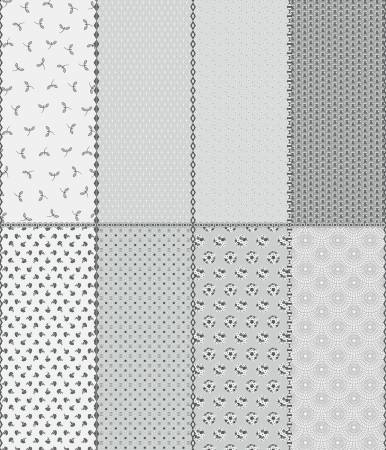 Paper Daisies Fat Eighth Panel Gray