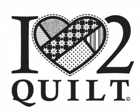 I Heart 2 Quilt - White - Vinyl Window Decal - FFD106 - MAY BE RESTOCKED UPON REQUEST