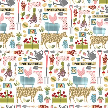 White Country Life by Farmgirls Unite for Poppie Cotton ~FG20701~