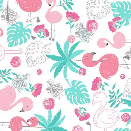 Shannon Fabrics Blush Flamingo Cuddle Print 58
