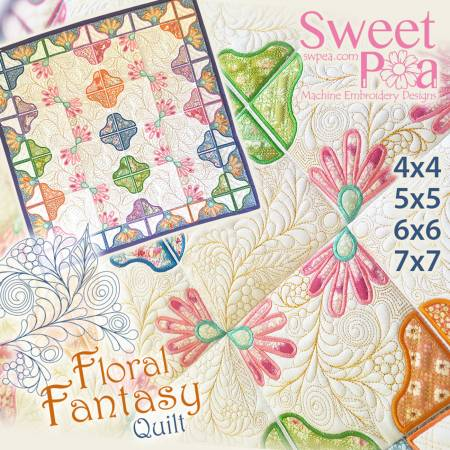 Floral Fantasy Quilt Machine Embroidery Design CD