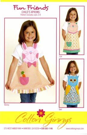 Fun Friends Child's Apron Bunny Cat & Owl