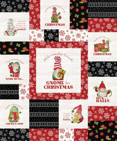 Gnome For Christmas Flannel Panel Red
