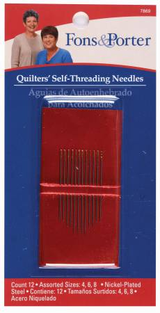 Fons & Porter Self / Easy Threading Needles Assorted Sizes 4/8 12ct