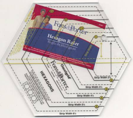 Hexagon Ruler Sizes 1in to 6in