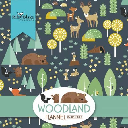 Woodland Flannel Fat Quarter, 15pcs, 3 bundles/pack