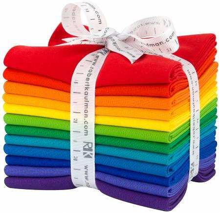 Fat Quarter Bundle - Kona Cotton Bright Rainbow Palette 12pc