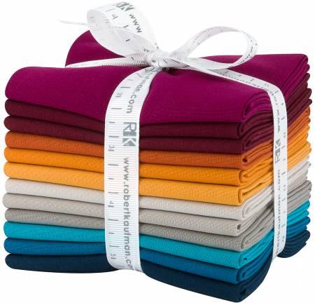 Fat Quarter Kona Cotton Tuscan Skies Palette, 12pcs/bundle