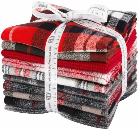Fat Quarter Bundle Mammoth Flannel Reds 10pcs/bundle