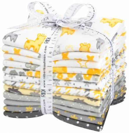 Yellow/Grey Cozy Cotton Flannel - 12 FQs