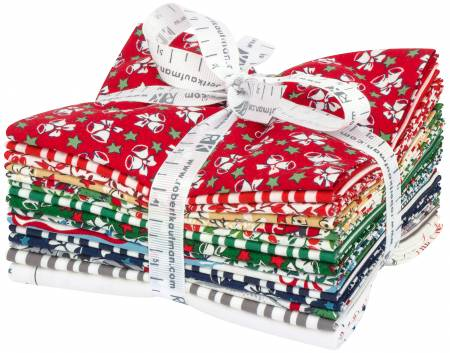 Fat Quarter Yuletide Bells, 15pcs/bundle