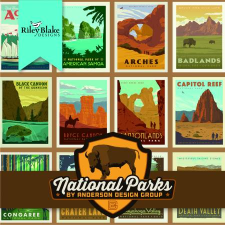 National Parks posters, sand C8780, Riley Blake designs