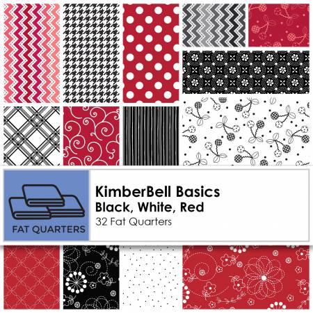 FQ-MASKIB-BW Fat Quarter Kimberbell Basics Black/White/Red 32pcs