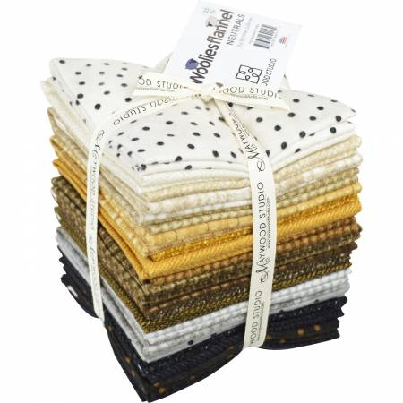 Fat Quarter Bundle Woolies Flannel Neutrals 20pcs/bundle