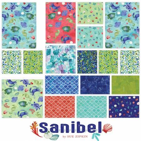 Fat Quarter Sanibel, 15pcs/bundle + Panel