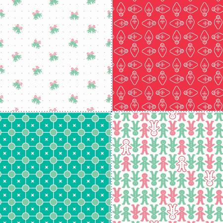 Riley Blake Cozy Christmas Fat Quarter Panel Red