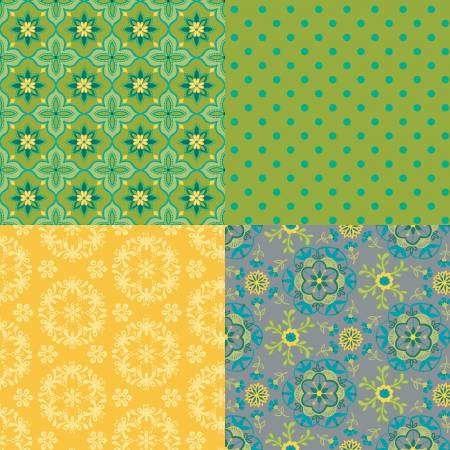 Wildflower Boutique Fat Quarter Panel Green