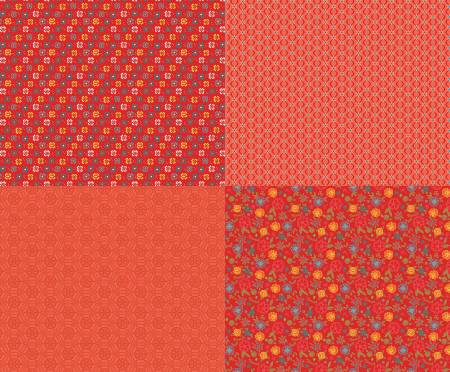 Shades Of Summer Fat Quarter Panel Red
