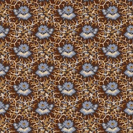 Washington Street FREN151-Z Brown Flowers Reproduction