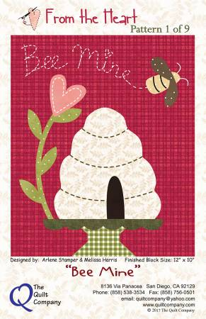 From The Heart Bee Mine Block 1 Block of the Month designed by The Quilt Company, 12 x 10