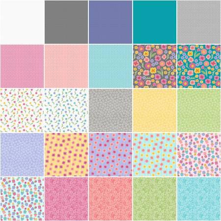 5in Squares Full Bloom, 42pcs,