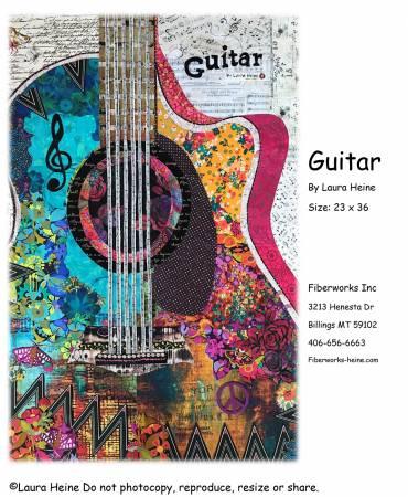Guitar Collage Pattern by Laura Heine
