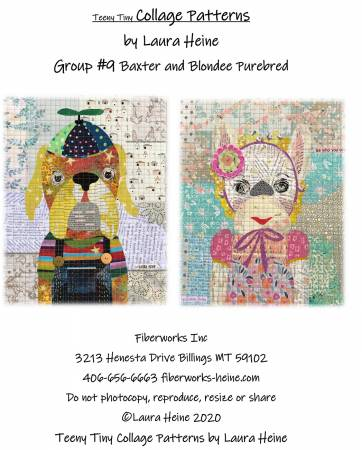 Teeny Tiny Collage Pattern Group #9 Baxter and Blondee Purebred by Laura Heine