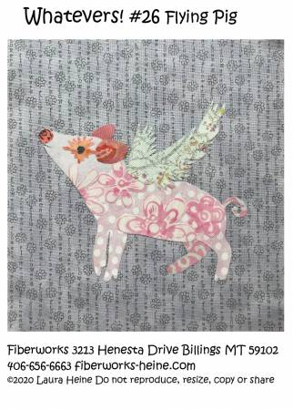 Whatevers #26 Flying Pig Collage Pattern by Laura Heine