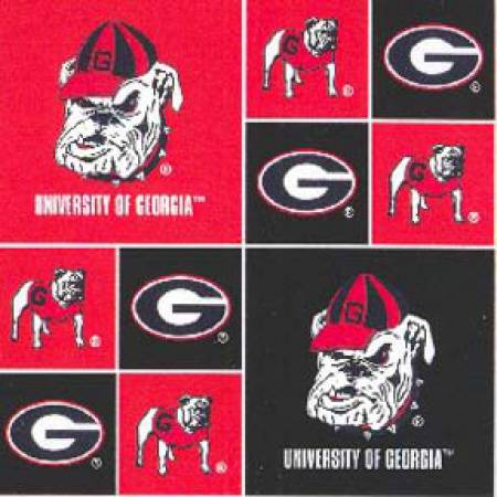 Licensed:  University of Georgia Bulldogs in Red and Black Squares by Sykel Enterprises
