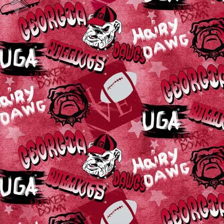 Licensed:  University of Georgia Bulldogs Graffiti on Red by Sykel Enterprises