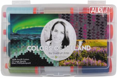 Aurifil Colors of Iceland Thread Collection by Gudrun Erla 50wt 12 Large Spools