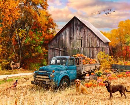 David Textiles - Four Seasons-Fall Blue Truck & Dog Digital Panel 36in - 00400C1 - W32
