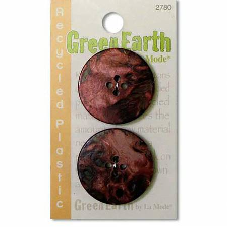 N- Buttons Green Earth Recycled Plastic Dark Rust Fort Horn