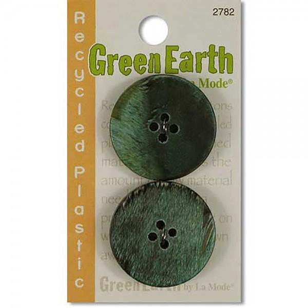 N- Buttons Green Earth Recycled Plastic Green Fort Horn
