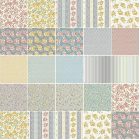10in Squares Grandeur Rose, 42pcs/bundle
