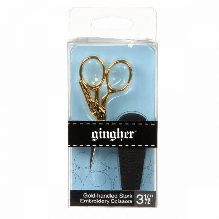 Gingher 3 1/2in Gold-handled Stork Embroidery Scissor