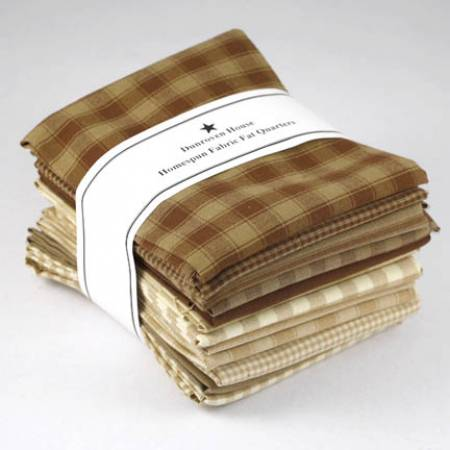 Brown/Neutral Homespun Fat Quarter 12pcs