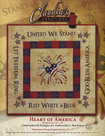 Heart of America Pattern - Machine Embroidery by Claudia's Creations+