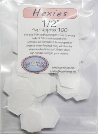 Pre-Cut Iron On Hexies- 1/2 inch 100 Count