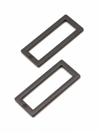 Rectangle Ring Flat 1-1/2in Black Metal Set of Two