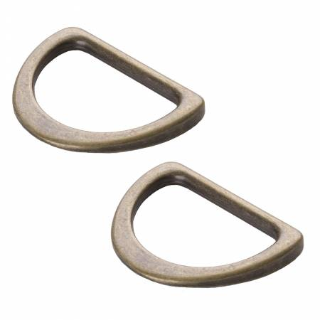 D Ring Flat 1 Antique Brass Set of 2