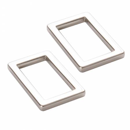 BY ANNIE Rectangle Ring Flat 1in Nickel Set of Two